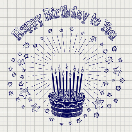 ball pen: Ball pen sketch birthday cake with candles stars and greetings lettering on notebook background. Vector illustration