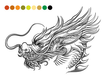 Dragon coloring page template with swatches of colors. Vector illustration