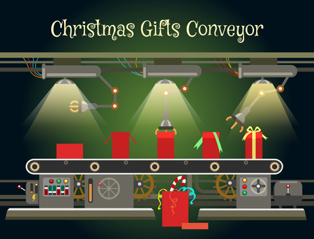 conveyor system: Christmas gift wrapping machine conveyor. Christmas industrial factory machinery vector illustration
