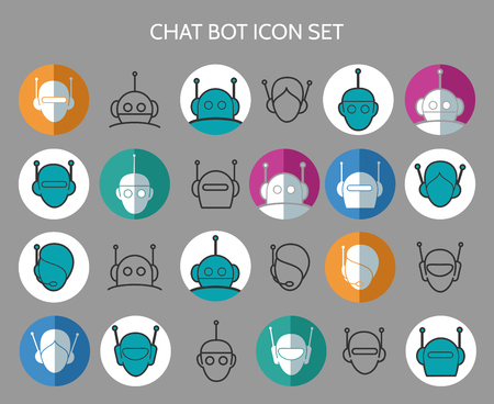 bot: Chat bot icons. Virtual chatter assistant vector signs