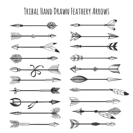 feathery: American indian arrow icons. Tribal hand drawn feathery arrows vector illustration