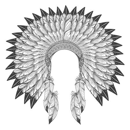 Native american indian headdress with feathers. Vector war bonnet headdress
