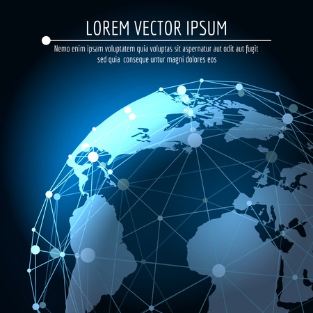 globalization: Vector global connection abstract background. Internet 3d network business globalization concept with world map