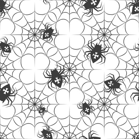 monochromic: Monochromic seamless pattern with spiders and spider web. Halloween pattern vector illustration
