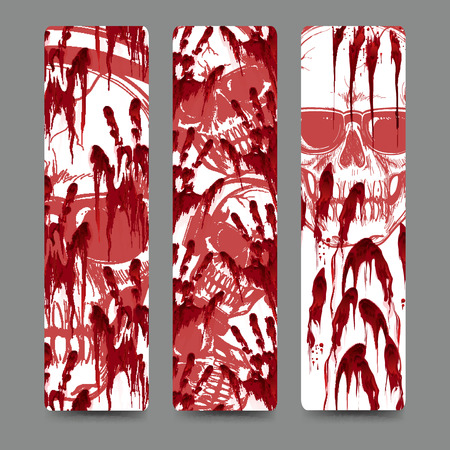 handprints: Set of bookmark with bloody handprints and skull in sunglasses. Vector illustration