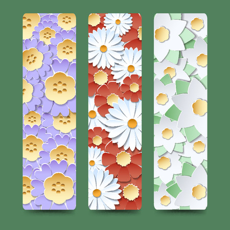 bookmark: Bookmark set with blooming flower bouquetes vector illustration