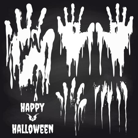 handprints: White handprints on chalkboard set. Horror halloween objects vector illustration Illustration