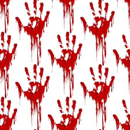 bloody hand print: Bloody hand print seamless pattern horror background. Vector illustration
