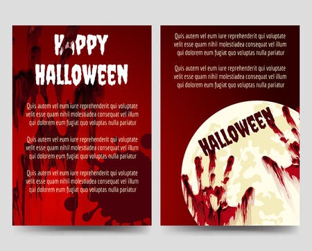 handprints: Halloween brochure flyer template with bloody handprints and moon. Vector illustration