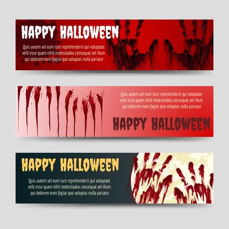 handprints: Happy halloween horizontal banners set with blood handprints vector Illustration