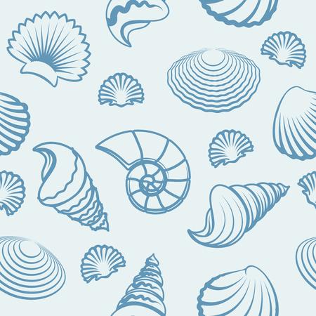 cockle: Vector seashells pattern. Sea shell hand drawn background Illustration