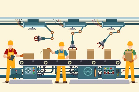 operational: Production conveyor belt with vector factory operational people in uniform. Vector illustration