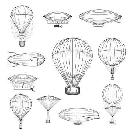 ビンテージな熱気球。レトロな手描き下ろし気球セット ベクトル図