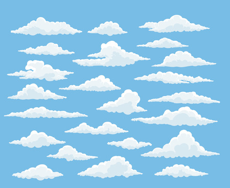 Cartoon cloud vector set. Blue sky with white clouds