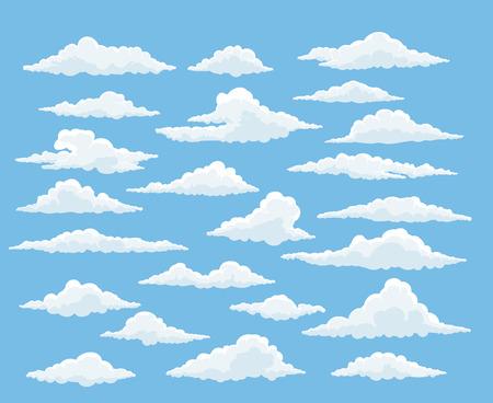 Cartoon wolk vector set. Blauwe lucht met witte wolken
