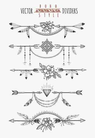 Arrow feather drawing page dividers. Wild boho gypsy romantic elements for invitation design. Vector illustration