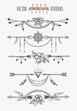 Flèche plumes page de dessin diviseurs. boho gitanes éléments romantiques sauvages pour la conception d'invitation. Vector illustration Vecteurs