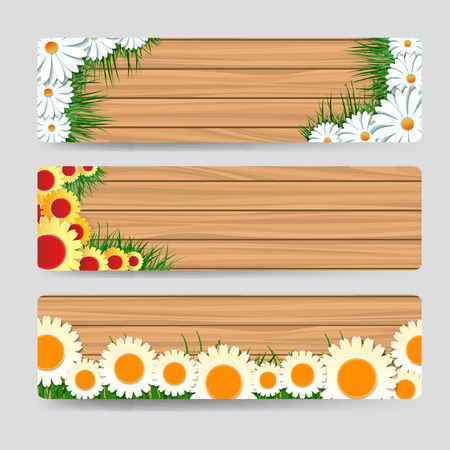 grass flowers: Wood horizontal banners template with grass and flowers. Vector illustration Illustration