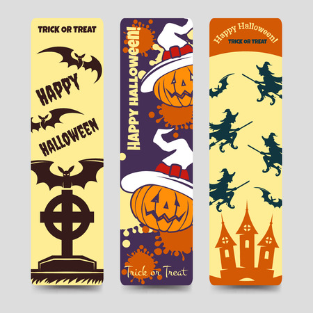 headstone: Halloween flat bookmarks with pumpkin bat headstone witch. Vector ilustration