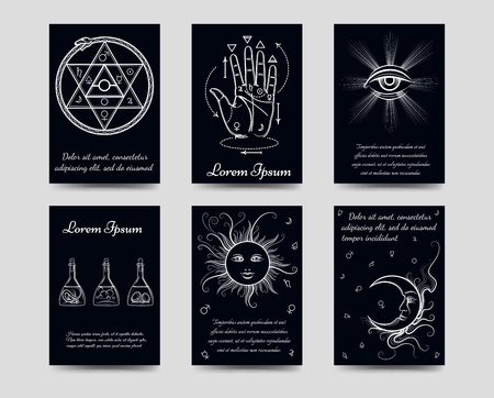 freemasonry: Alchemy and isoteric cards set. Black and white isoteric cards vector illustration