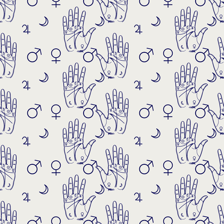 wiccan: Palmistry seamless pattern with hand and isoteric signs. Vector illustration Illustration