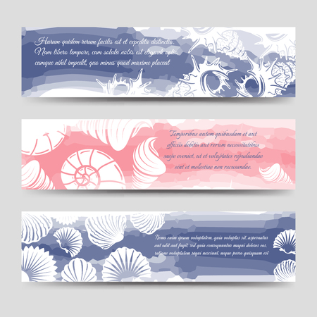 seastar: Ocean banners template with sea shells and watercolor elements vector