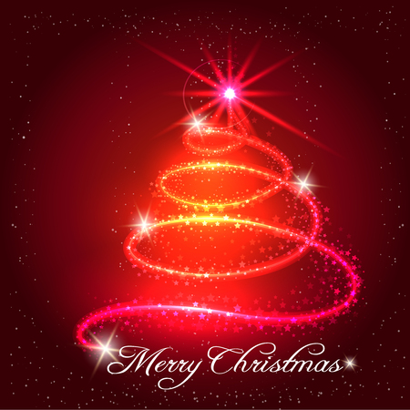 Red christmas background with x-mas tree stars and shining elements. Vector illustration Illustration