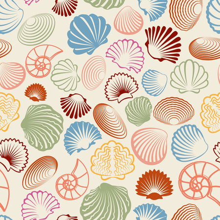 Sea seamless pattern with colorful sea shells. Vector illustration Illustration