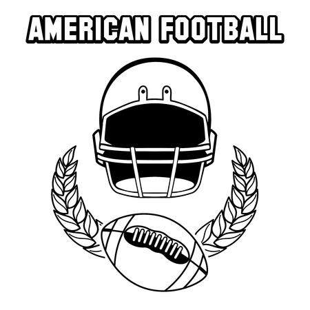 afc: Black and white american football emblem isolated on white. Vector illustration
