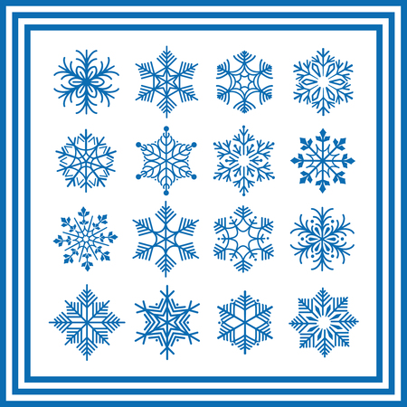 festively: Blue snowflakes isolated on white. Vector snowflakes collection