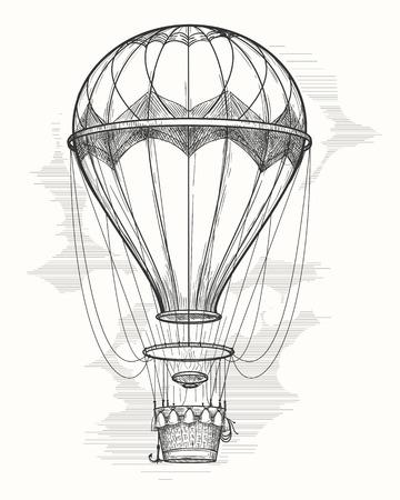 Retro hand drawing hot air balloon. Vintage hot air airship vector sketch