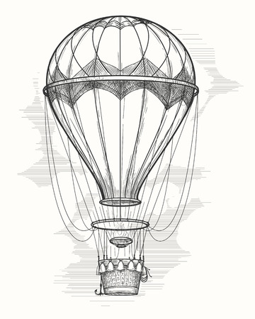Rétro dessin ballon à air chaud à la main. Vintage dirigeable à air chaud vecteur croquis