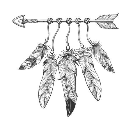 Vintage natività disegnata a mano freccia con piume. boho tribale indiano dreamcatche talismano isolato su sfondo bianco. illustrazione di vettore