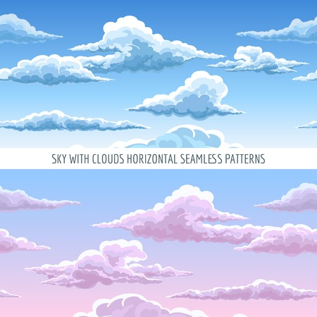 heavenly: Vector blue sky with clouds horizontal seamless pattern. Cartoon heavenly clouds in the sky on sunny day background Illustration