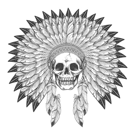 Native american indian apache skull with indian feather headdress vector illustration Illustration