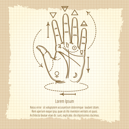 palmistry: Palmistry sign vector illustration. Hand and isoteric signs on vintage background
