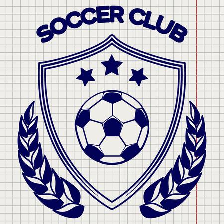 Ball pen sketch of soccer clum emblem vector illustration. Football  on notebook background