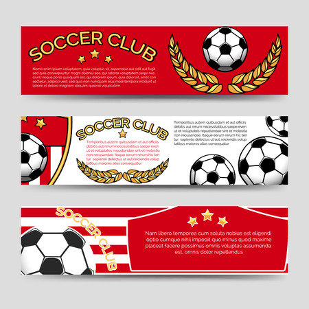 Soccer club banners template vector illustration. Footbal banners set