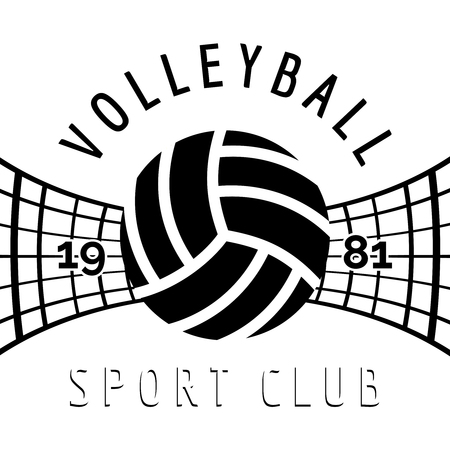 Black and white volleyball emblem isolated on white. Vector illustration Vettoriali