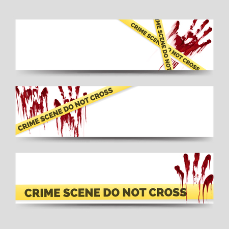 danger do not cross: Crime banners with bloody handprints and police crime scene scoth. Clean crime banners set. Vector illustration Illustration