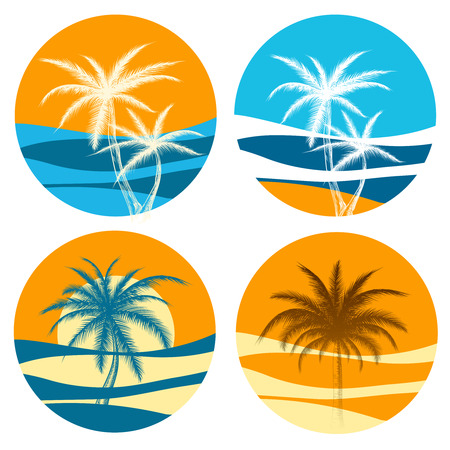 Palm paradise  vector set. Colorful icons with sunrise and palm trees