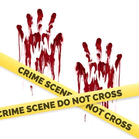 handprints: Crime poster with bloody handprints and police crime scene scoth isolated on white background. Vector illustration