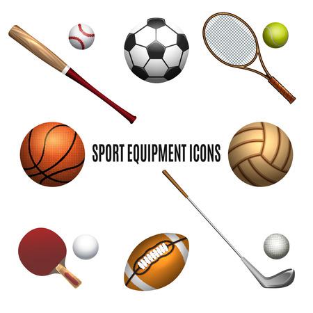 Sport equipment icons set. Sport equipment isolated on white background. Vector illustration