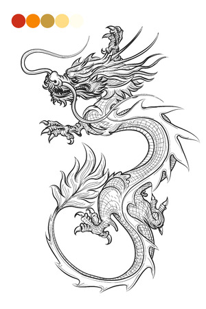 Coloring page with hand drawn dragon and color swatches. Vector illustration