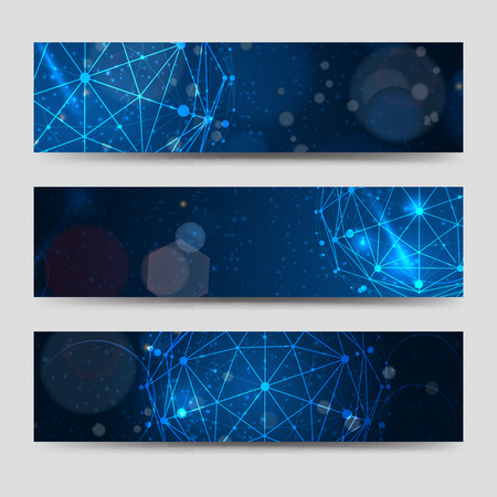 Horizontal banners template with abstract sphere and shining backdrop. Vector illustration