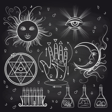 Isoteric signs, philosophy and alchemy elements on chalkboard background. Vector illustration