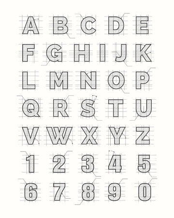 Drafting paper alphabet. Vector drawing sketch font letters