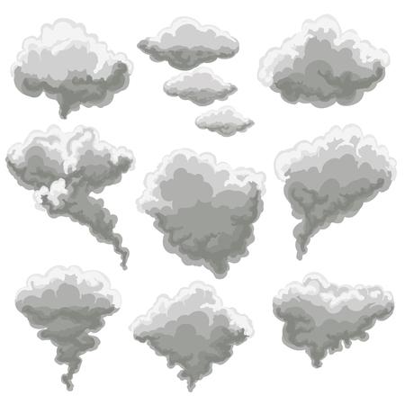 漫画煙のベクトル図です。白い背景の上の灰色の霧の雲を喫煙