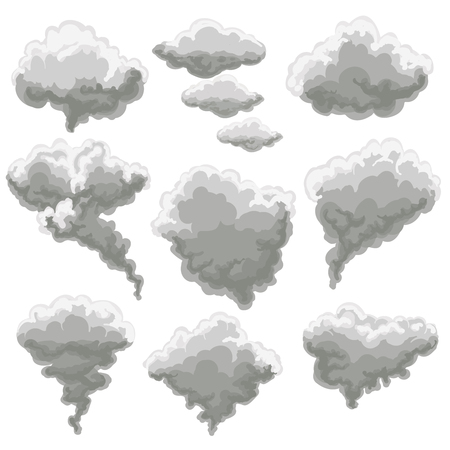 Cartoon smoke vector illustration. Smoking gray fog clouds on white background Stock Photo