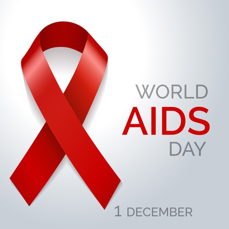 aids awareness ribbon: World AIDS day red ribbon poster. Vector illustration Illustration